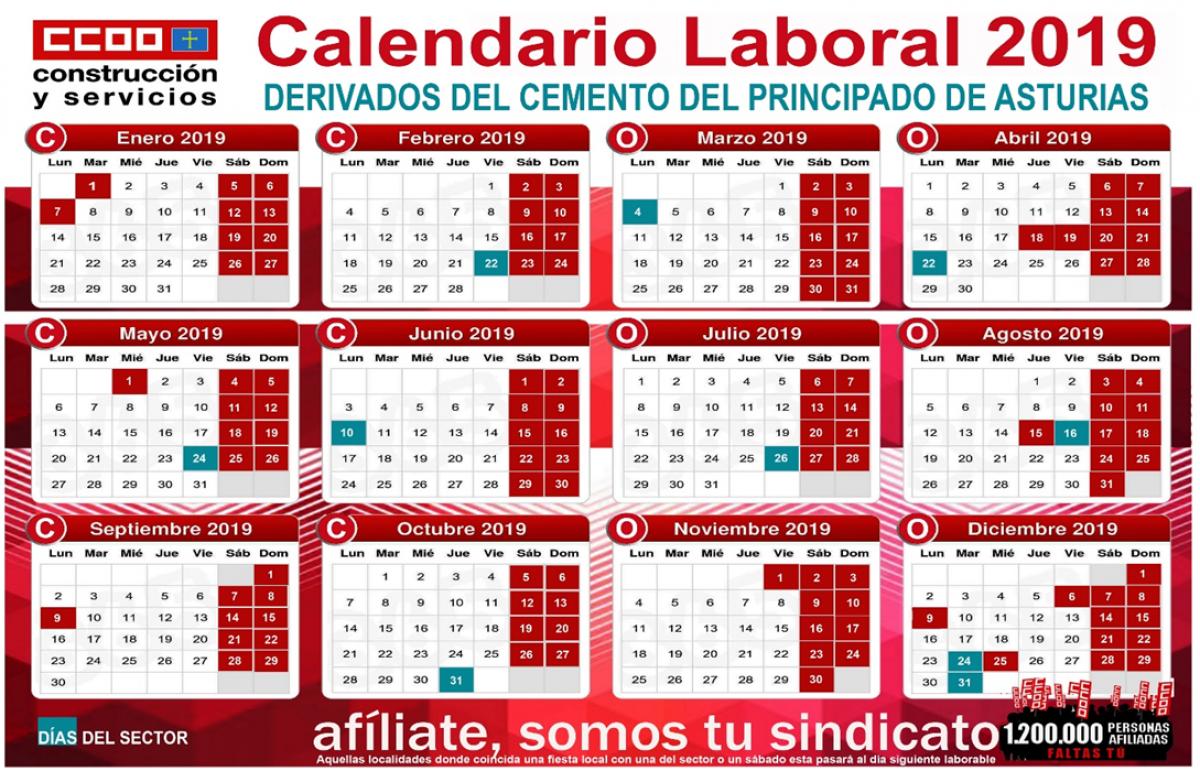 Calendario Laboral Oviedo 2019.Federacion De Construccion Y Servicios